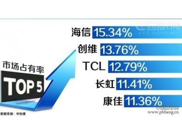 2013年中国电视机市场销量及品牌占有率排行榜