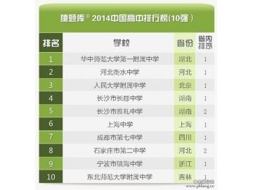 2014全国高中百强榜_中国百强中学排行榜
