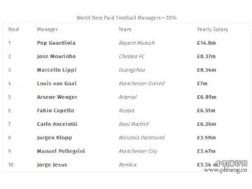 2014世界足球教练高薪排行榜