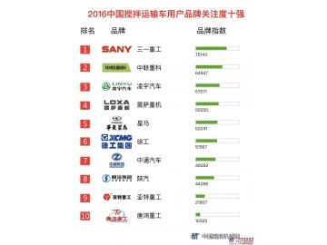 2016年搅拌运输车品牌关注度排行榜