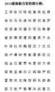 2013年中国最新版百家姓排行榜