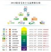 2013年消毒毛巾十大品牌排行榜