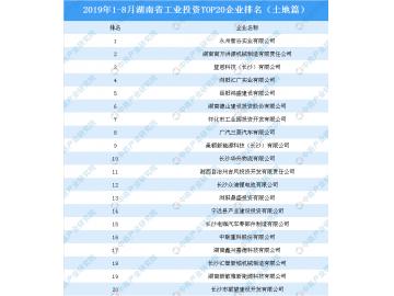 2019年1-8月湖南省工业投资TOP20企业排名