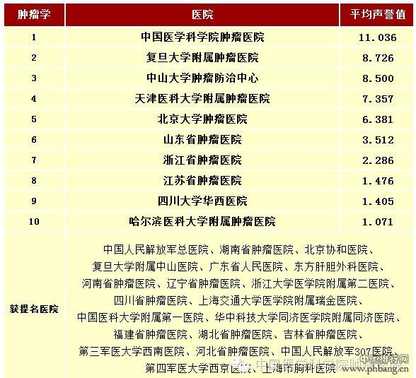 2013年度中国最佳肿瘤医院排行榜