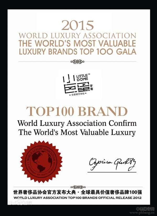 中国品牌(LITTLE DOME)小巨蛋牙膏挤进2015年奢侈品排行榜